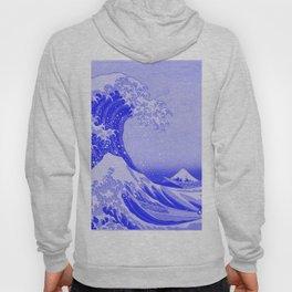 Cobalt Blue Porcelain Glaze Japanese Great Wave Hoody