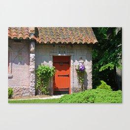 Lourdes University-  Portiuncula  Chapel Door with Clematis Canvas Print