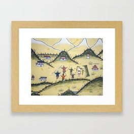 Bhutanese house with archery paintings Framed Art Print