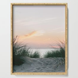Dune grass at colourful pastel sunset | Painted sky at North Sea, Netherlands | Fine art travel photography Serving Tray