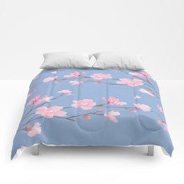 Square - Cherry Blossom - Serenity Blue Comforters