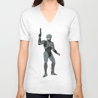 robocop V-neck T-shirts featuring Robocop by James White