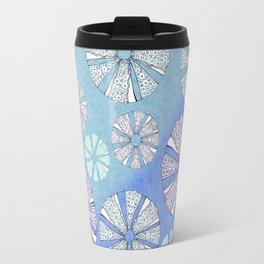 sea urchin blue watercolor Travel Mug