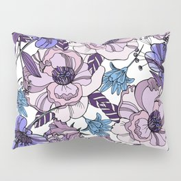 Cute beautiful floral seamless pattern. Ultraviolet roses, violas and meadow flowers. Pillow Sham