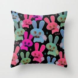 Cute Bunnies on Black Throw Pillow