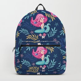 Pretty mermaid design with flowers. Backpack