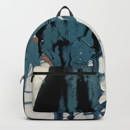 Fortune: A bold, minimal, abstract mixed-media piece in blue and black Backpack