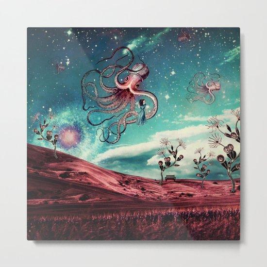 Sunrise Flight on Purple Planet Metal Print