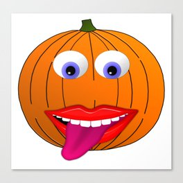 Pumpkin Character With Big Eyes and Tongue Out Canvas Print