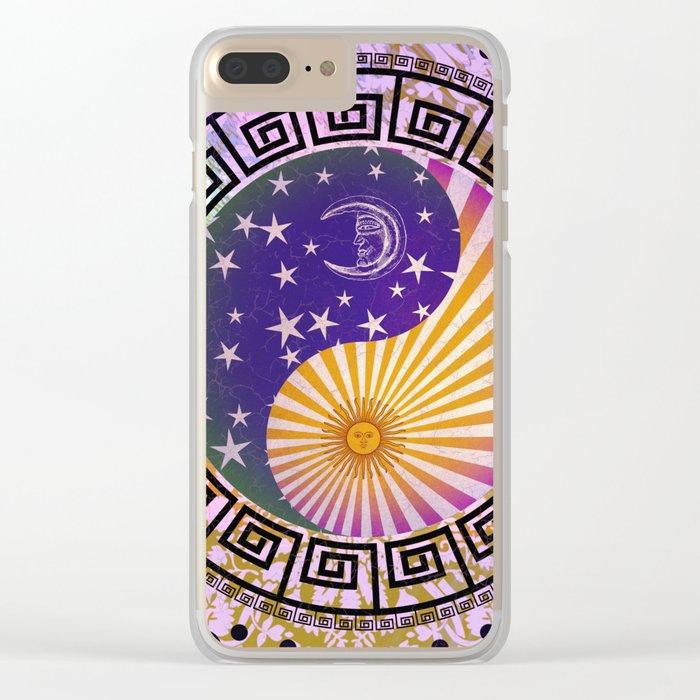 Vintage Sun Moon & Stars Yin & Yang Clear iPhone Case
