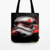 storm trooper Tote Bags featuring Storm Trooper by Art of Fernie