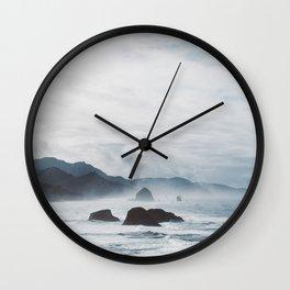 Mist Over Cannon Beach Wall Clock