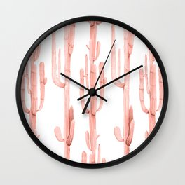 Pretty Coral Pink Cactus Pattern Wall Clock