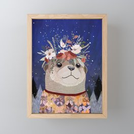 Otter watching stars Framed Mini Art Print