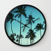 palm trees Wall Clocks featuring Palm Trees by Whitney Retter