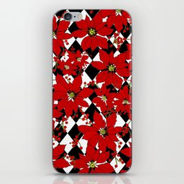 Red Poinsettias  and Black and White Harlequin Pattern iPhone Skin