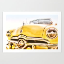 Classic Car Yellow Ford Rag Top - photography Art Print