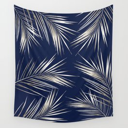 White Gold Palm Leaves on Navy Blue Wall Tapestry