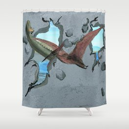 Here Come the Dinosaurs Shower Curtain
