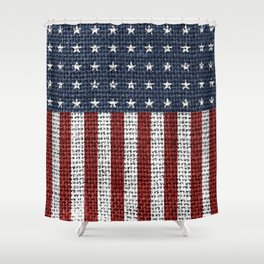 USA American Flag Rustic Jute Style 4th July Decor Shower Curtain