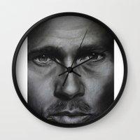 brad pitt Wall Clocks featuring Brad Pitt by Future Illustrations- Artwork by Julie C