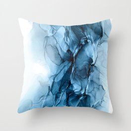 Deep Blue Flowing Water Abstract Painting Throw Pillow