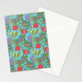 Seven Species Botanical Fruit and Grain with Aqua Background Stationery Cards