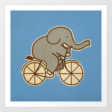 Elephant Cycle - colour option Art Print