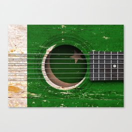 Old Vintage Acoustic Guitar with Pakistani Flag Canvas Print