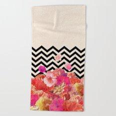 Chevron Flora II Beach Towel