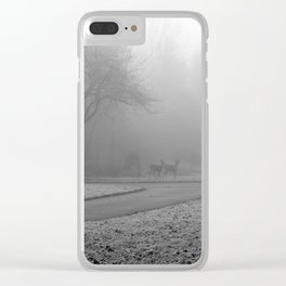 Whitetail Deer in the Fog Clear iPhone Case
