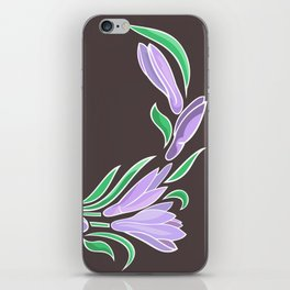 Abstract crocuses with grey background iPhone Skin