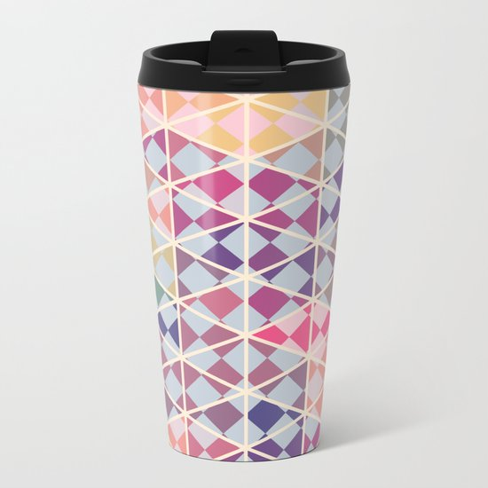 Purple mosaic pattern Metal Travel Mug