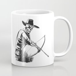 Cowboy skeleton with crossbow - black and white - gothic skull cartoon - ghost silhouette Coffee Mug