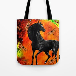 HORSE MOON AND DRAGONFLY VISIONS Tote Bag