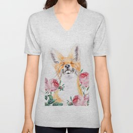 Happy Fox And Pink Roses Unisex V-Neck