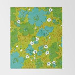 Green, Turquoise, and White Retro Flower Design Pattern Throw Blanket