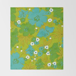 Green, Turquoise, and White Retro Flower Design Pattern Throw Blanket