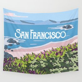 San Francisco, California Beach Succulents Illustration Wall Tapestry