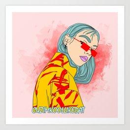 CUZ IM KOOL LIKE DAT - Cool Asian Female with Blue Hair Digital Drawing Art Print