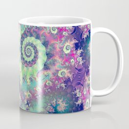 Violet Teal Sea Shells, Abstract Underwater Forest  Coffee Mug