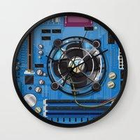 computer Wall Clocks featuring Computer Motherboard by Nick's Emporium Gallery