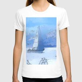 Sailing the Calm Blue Waters  - Sailboating T-shirt