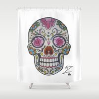 mexican Shower Curtains featuring Mexican Skull by DΔZΞD.