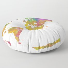 Map of the World - Watercolor 5 Floor Pillow