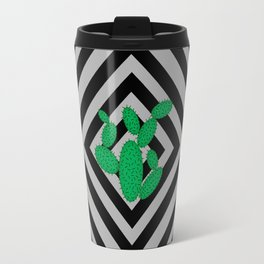 Cactus - Abstract geometric pattern - black and gray. Travel Mug