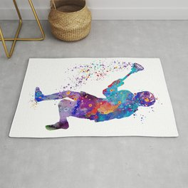 Lacrosse Boy Colorful Watercolor Art Sports Gift Rug