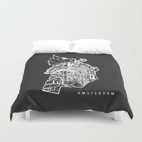 amsterdam Duvet Covers featuring AMSTERDAM by Nicksman