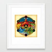hyrule Framed Art Prints featuring Hyrule Macrocosmica by Jude Buffum