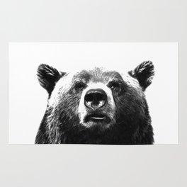 Black and white bear portrait Rug